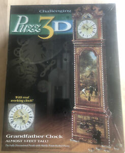 777 Piece Real Working Grandfather Clock Challenging Puzzle Milton Bradley 1997