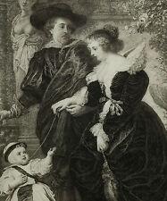 Portrait: Rubens+Hélène Fourment+Sohn, LeCouteux 1887 73x54cm signiert !