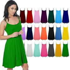 Ladies Camisole Cami Flared Skater Womens Strappy Vest Top Swing Mini Dress New