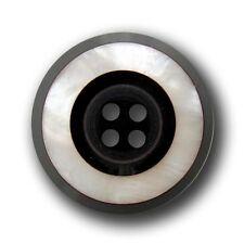 5 schwarz weiß perlmuttartige Vierloch Kunststoff Knöpfe / B-WARE (z101pm-26mm)