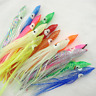 50pcs 4-24cm Octopus Squid Skirt Lures Hoochies Saltwater Soft Fishing Lures