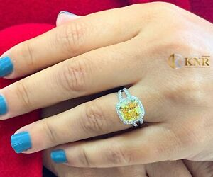 14k Yellow Gold Cushion Fancy Yellow And Natural Diamonds Engagement Ring 4.70