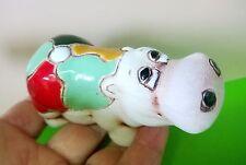 Hippopotamus art ceramics glaze painting folkcrafts handmade from Russia
