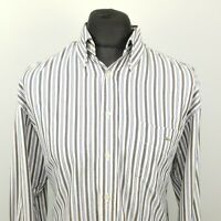 Lacoste Mens Vintage Oxford Shirt 42 LARGE White Classic Fit Striped OVERSIZED