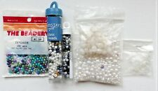HUGE LOT 950+ Glass & Acrylic Mix Pearls/Seed Beads +30 Rubber Bead Stoppers
