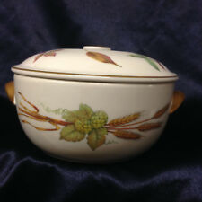 ROYAL WORCESTER EVESHAM GOLD COVERED CASSEROLE DISH 1 QUART ASPARAGUS WHEAT