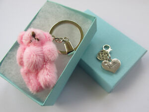 Pink Soft Fluffy Teddy Bear Handmade Mum Keyring Charm - Boxed Gift