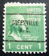 Sc # 804 ~ Used ~ 1 cent George Washington Issue, Precancel GREENVILLE N. C.