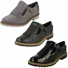 Ladies Clarks Buckle Fastened Fringe Flat Shoes Griffin Mia Black Leather 6.5 UK D
