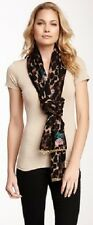BETSEY JOHNSON Leopard Cheetah Print Gold Chain Link Embroidered Flower Scarf