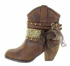 Not Rated Womens Legacy Western Boot Tan Brown Strappy Lace Size 8.5 M