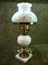 Vintage White Fenton Roses Student Table Lamp with White Floral Shade