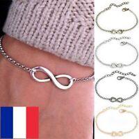 Bracelet Chaîne de main Femme Symbole Infini Infinity Amour Argent ou Or