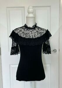 Gothic Black Lace Victorian High Neck Blouse Shirt Dark In Love Size 8-10