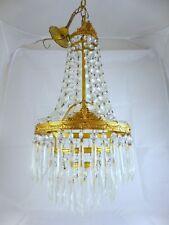 Superbe petit lustre Montgolfière Pampille Laiton 24cm St Empire Chandelier 1950