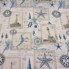 Stoff Meterware Leuchtturm maritim creme blau Seepferd Anker Knoten Handschrift