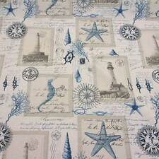 Stoff Meterware Leuchturm maritim creme blau Seepferd Anker Knoten Handschrift