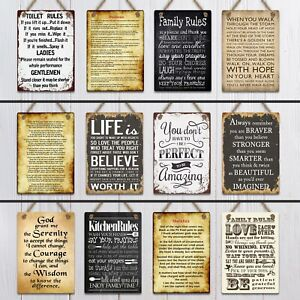 Metal Hanging signs plaques retro vintage quotes family Life home toilet rules