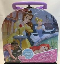 New Cute Disney Princess On The Go Sidewalk Chalk & Stencil Kit Tin Carry Case