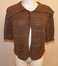 Athleta Brown Cropped Cardigan Sweater Sz Large Short-Sleeve 100% Organic Cotton