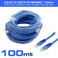 CAVO DI RETE ETHERNET 100 MT patch cord LAN RJ45 PLUG CATEGORIA 5S