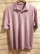 Vineyard Vines Striped Pink and White Polo Shirt Mens Medium