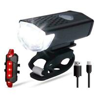 2020 USB Rechargeable Mountain Bike Lights Bicycle Torch Front /& Rear Lamp Set