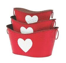 3 Pc Valentine's Day Wedding Reception Rustic Decorative Pails Metal
