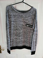 SELECT WOMENS GREY WHITE STRIPED LONG SLEEVE TOP SIZE 8 LENGTH 24 INCH