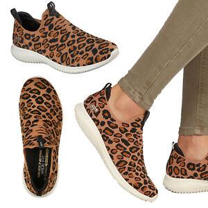 Skechers Womens Ultra Flex Woven Leopard Print Slip On Memory Foam Trainers Shoe