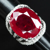 PIGEON BLOOD RED RUBY OVAL 35.20 CT. SAPPHIRE 925 STERLING SILVER RING SZ 5.75