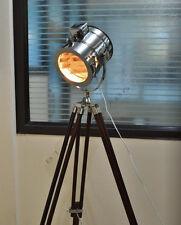 HAND MADE DESIGNER MARINE TRIPOD FLOOR LAMP SEARCH LIGHT BROWN WOOD TRIPOD LAMP