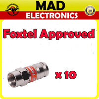 10 x Compression Crimp RG6 Coaxial F Type Connector Foxtel Approved F30574 Bulk