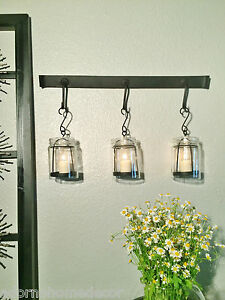 Vintage Jar Wall Sconce Rustic Modern Cottage Chic Unique Candle Holder Decor