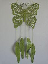 "Butterfly Wind Chime 21"" Green Glitter Die Cut Metal Home Garden Decor"