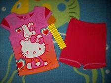 Hello Kitty Sleepwear 2pc Short Pajama Set Size 4 Small Peace Rabbit Hearts NWT