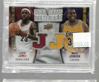 Lebron James / Magic Johnson 2009 Dual Game Materials relic -- Lakers Cavs