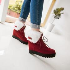 Fashion Women Warm Winter Ankle Boots Fur Lined Wedge Hidden Heels Lace Up Shoes