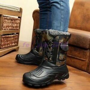 Men Warm Fur Lined Lace up Winter Snow Boots Waterproof Camo Mid Calf Boots Shoe