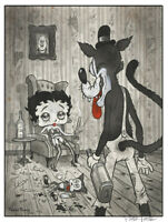 "BETTY AND THE WOLF 12x18"" signed print By Frank Forte Pop Surrealism Betty Boop"