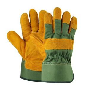 Leather Gardening Gloves Lady Men Thorn-Proof Thick Work Gauntlets Heavy Duty