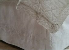 """Simply Shabby Chic Embroidered Linen Blend FULL Bed Skirt WHITE 15"""" Drop"""