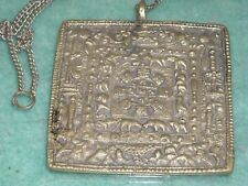 """old Hieroglyphic square large 2 5/8"""" pendant & chain necklace 72.4g poured sign"""