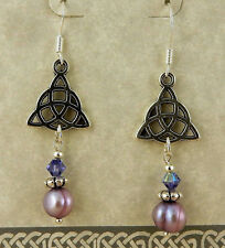 Silver Celtic Triquerta Trinity Knot earrings purple pearls & Swarovski crystals