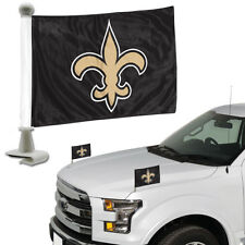 New Orleans Saints Set of 2 Ambassador Style Car Flags - Trunk, Hood