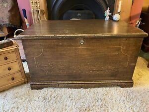 Fabulous Late Georgian Vintage Antique Old Pine Chest / Trunk / Large Box