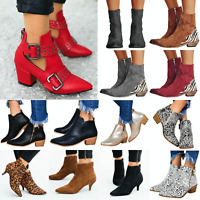 Womens Pointed Toe Casual Shoes Ankle Boots Chunky Mid Block Heel Winter Fashion
