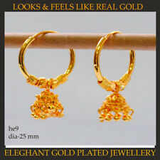 22k Yellow Gold Plated Large Hoop Earrings.bollywood Indian Style