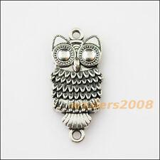 6 New Animal Owl Birds Tibetan Silver Tone Charms Pendants Connectors 13x23.5mm