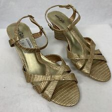 """559388553d East 5th Addie Gold Sandals 3"""" Wedge Heel Open Toe Straps Size 7.5 M"""
